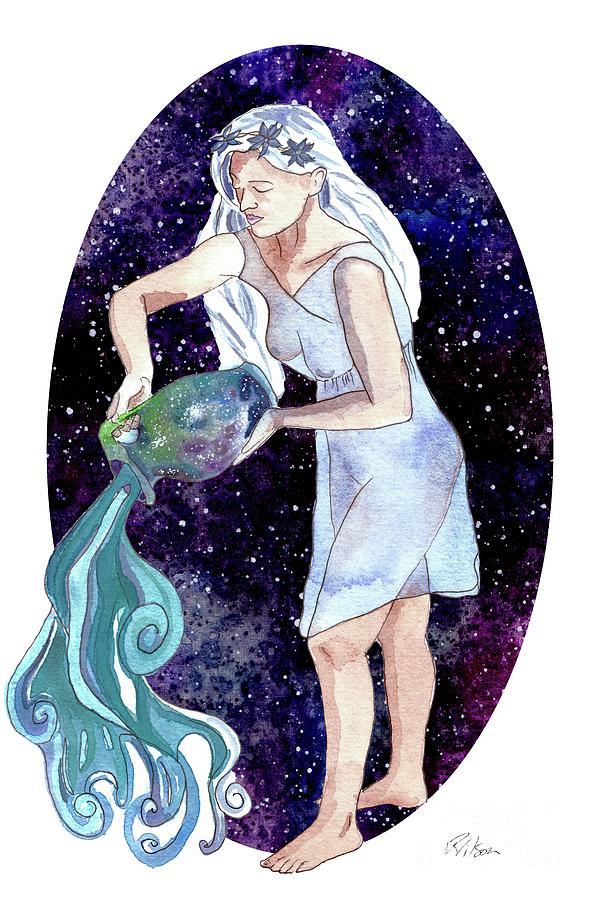 Aquarius Painting - Aquarius Water Bearer by D Renee Wilson