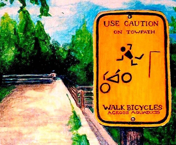 Biking Drawing - Aqueduct by Kimberly Simon