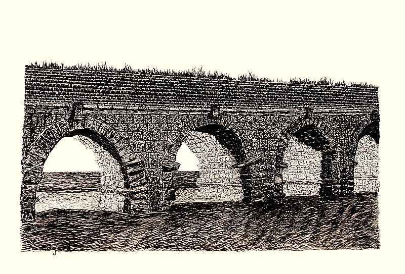 Aqueduct Of Caesarea Drawing by Edgard Loepert