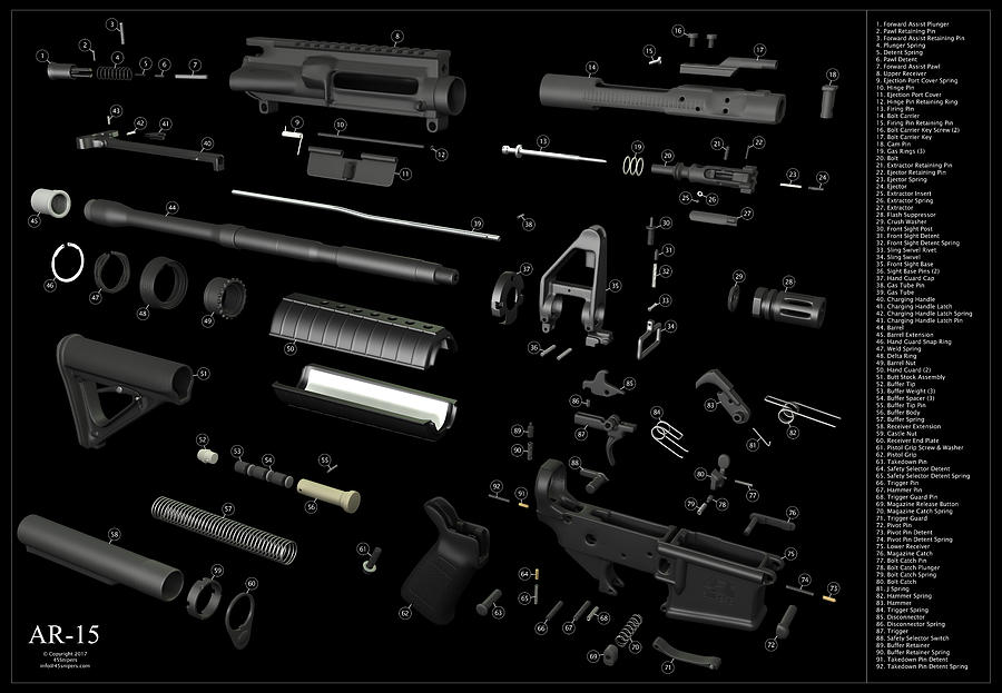 Ar 15 Exploded On Black Digital Art By 45snipers