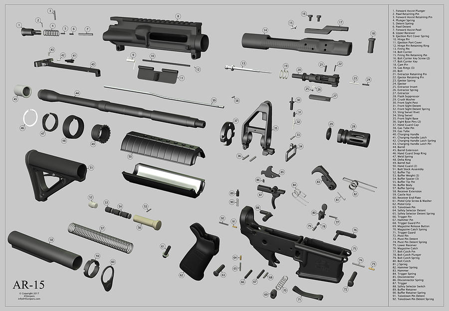 Ar-15 Exploded On Gray Digital Art by 45Snipers on enfield schematic, winchester schematic, cetme schematic, m16 schematic, gun schematic, remington 870 schematic, m4 schematic, ar trigger schematic, dyson schematic, ak-47 schematic, m1 garand schematic, ar parts schematic, pistol schematic, cz schematic, glock schematic, revolver schematic, akm schematic, mauser schematic, marlin model 60 schematic, sa80 schematic,