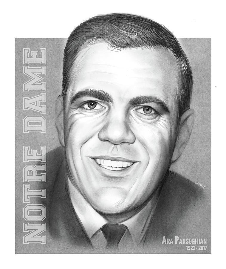 Football Drawing - Ara Parseghian by Greg Joens