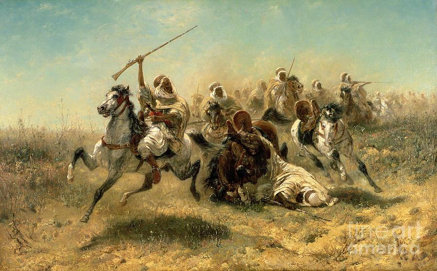 Arab Painting - Arab Horsemen On The Attack by Adolf Schreyer