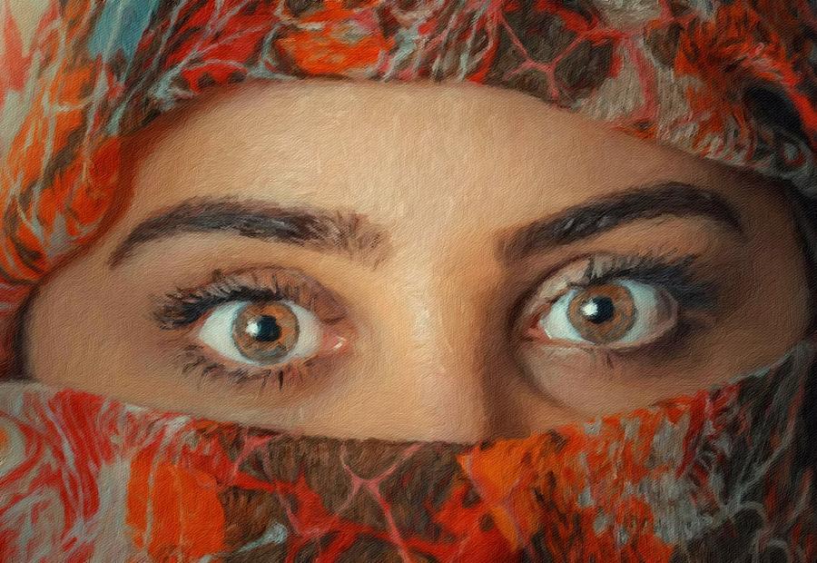 Woman Portrait Painting - Arabian Beauty by Vincent Monozlay