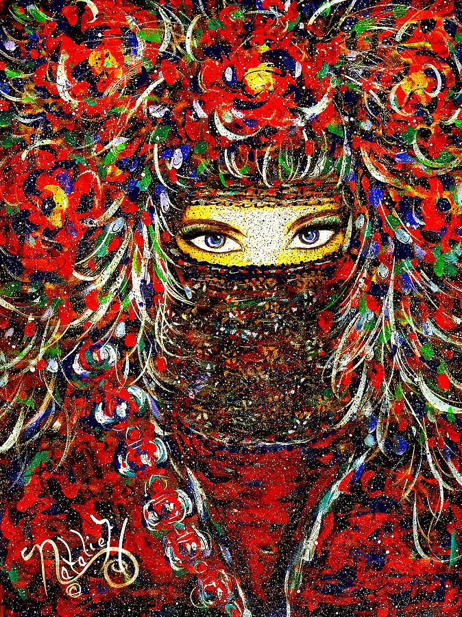 Woman Painting - Arabian Eyes by Natalie Holland