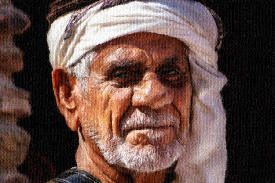 Portrait Painting - Arabian Old Man by Vincent Monozlay
