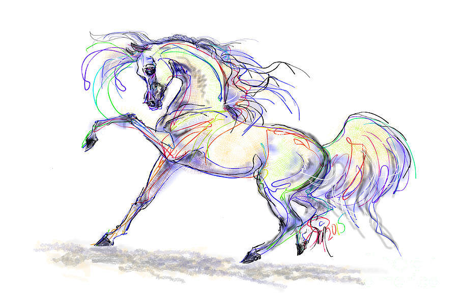 Arabian Digital Art - Arabian Stallion Talk by Stacey Mayer