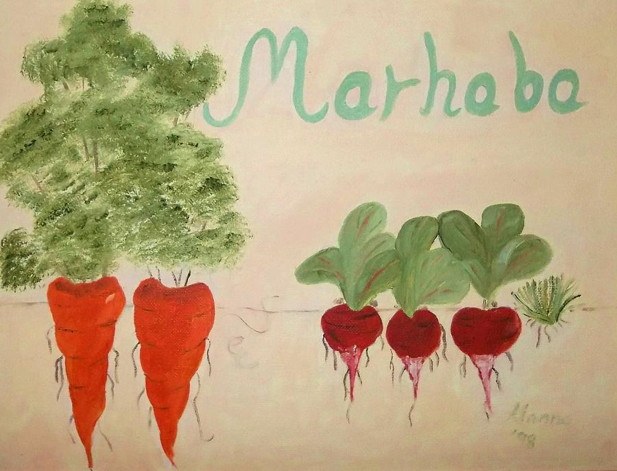 Vegetables Painting - Arabic Welcome To My Kitchen by Alanna Hug-McAnnally