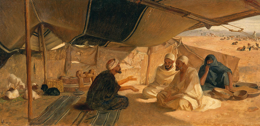 Arabs Painting - Arabs In The Desert by Frederick Goodall