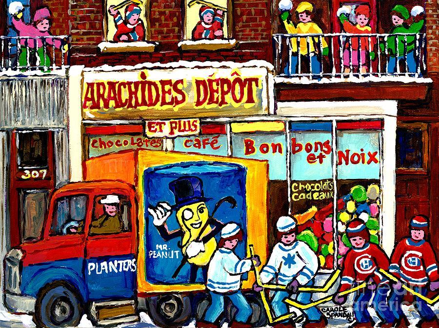Verdun Painting - Arachides Depot Candy Shop Painting Rue De Leglise Verdun Montreal Hockey Art Carole Spandau        by Carole Spandau