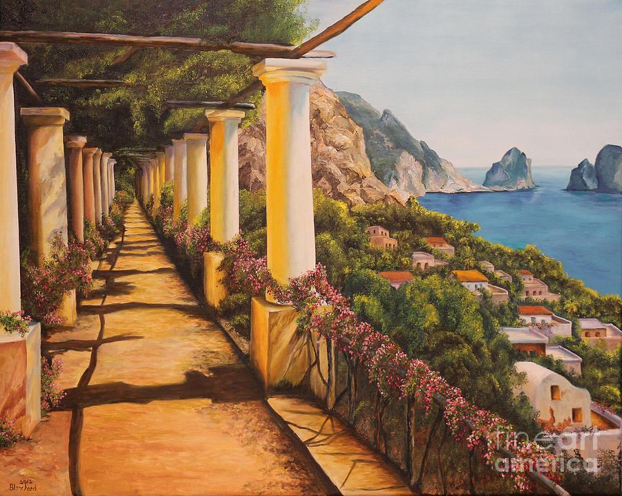 Italy Paintings Painting - Arbor Walk In Capri by Charlotte Blanchard