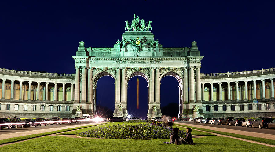 Brussels Photograph - Arcade du Cinquantenaire at Night - Brussels by Barry O Carroll
