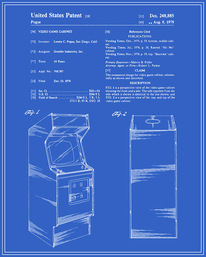 Arcade Game Patent Blueprint Digital Art By Finlay Mcnevin