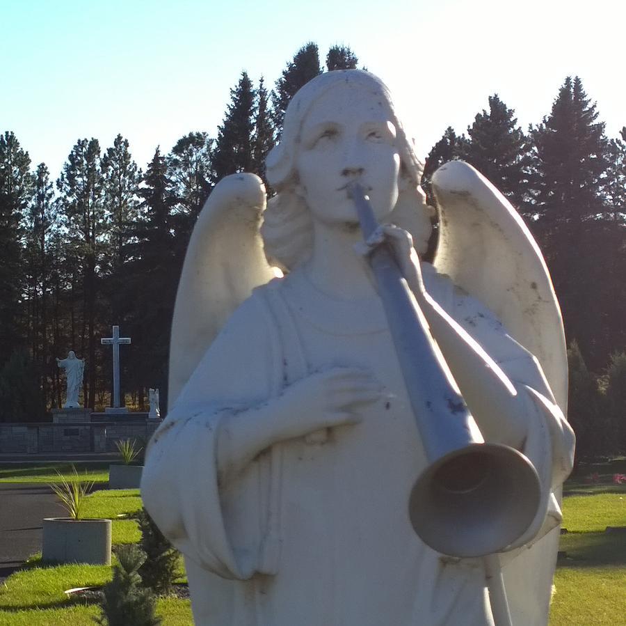 Archangel Photograph - Archangel Gabriel Jesus with Cross by Delynn Addams