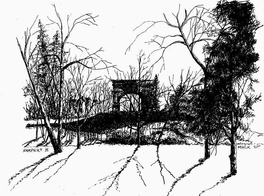 Landscape Drawing - Arch And Rampart by Dan Mack