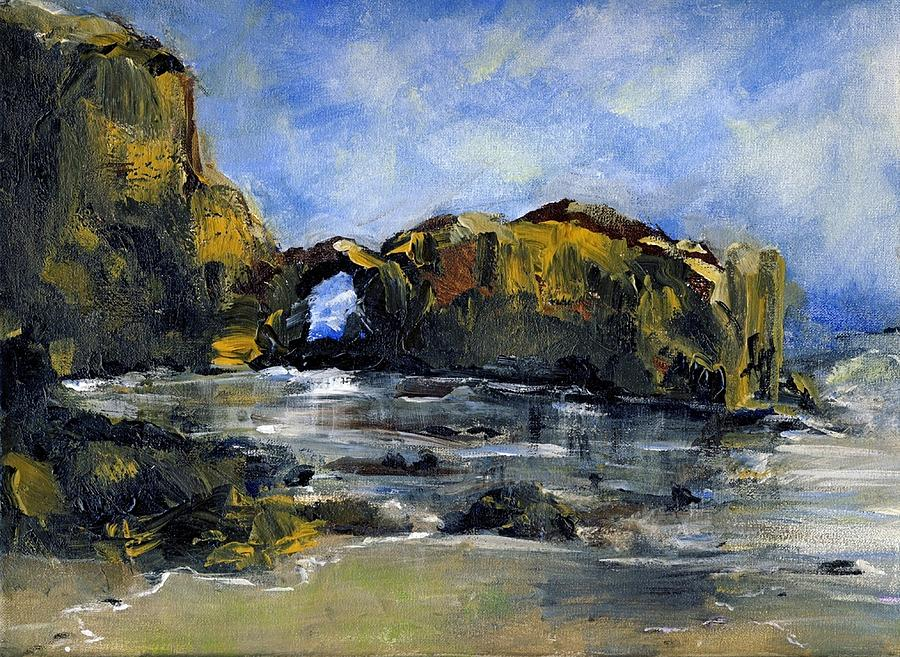 Beach Painting - Arch At Pearl Beach Over Cast by Randy Sprout