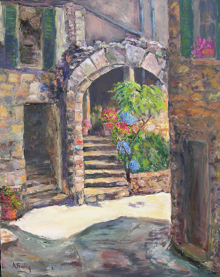 Arch Of Eze Painting by Albert Fendig