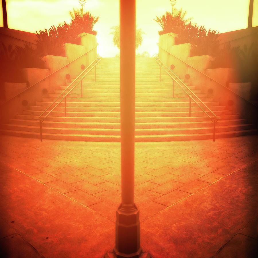 Arch Steps And Light Pole Brilliant Sunrise Photograph