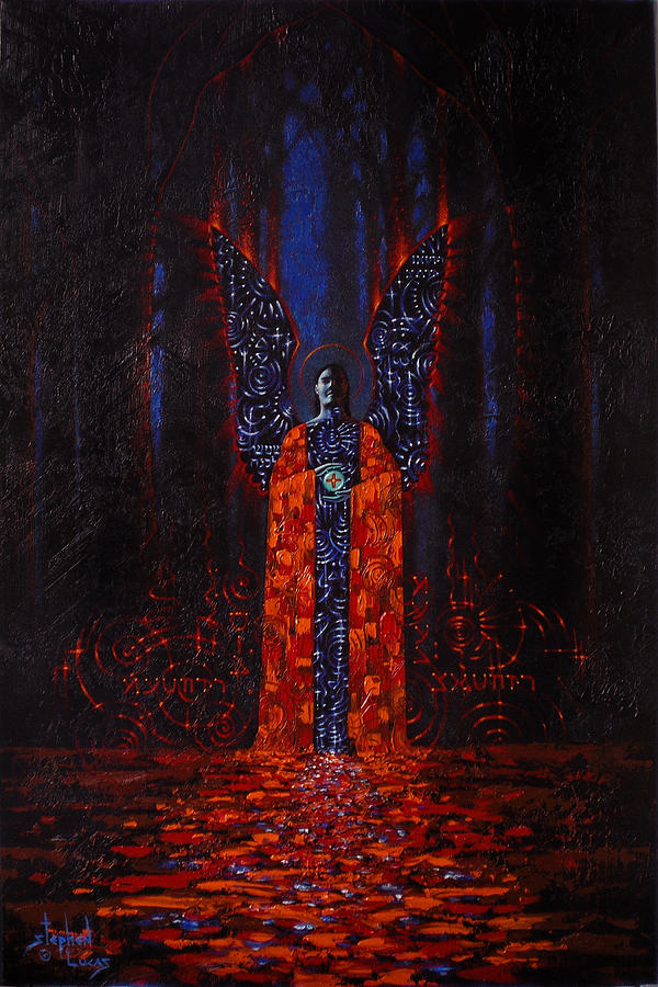 Mystical Painting - Archangel Evokes Through Nights Womb by Stephen Lucas