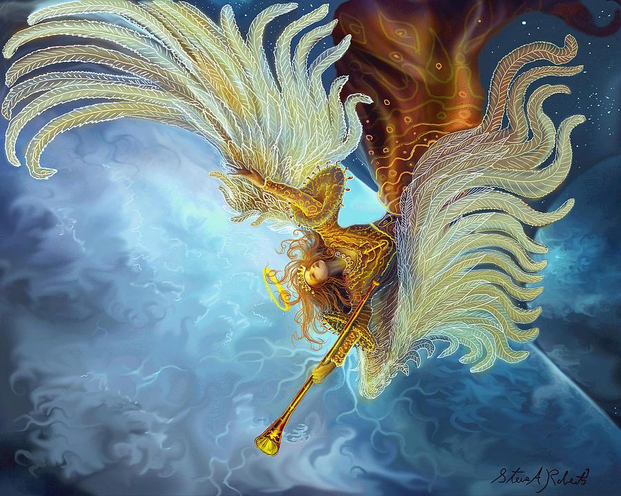 Angel Painting - Archangel Gabriel by Steve Roberts