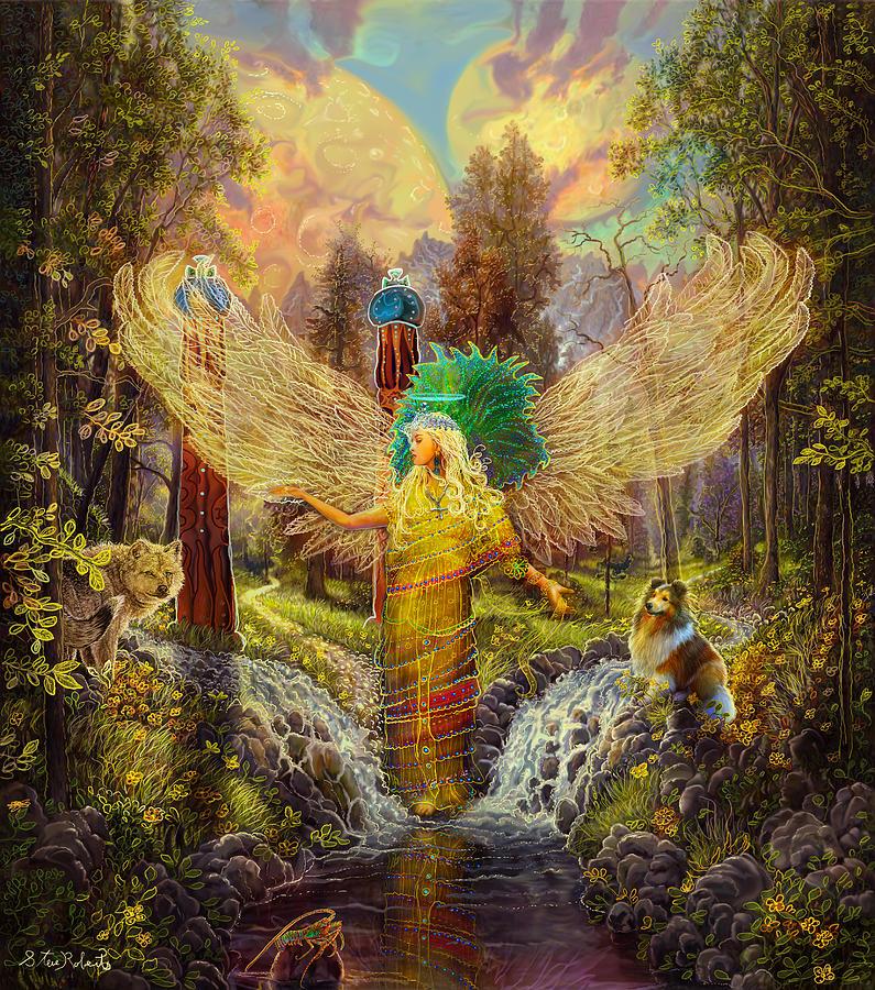Angel Painting - Archangel Haniel by Steve Roberts