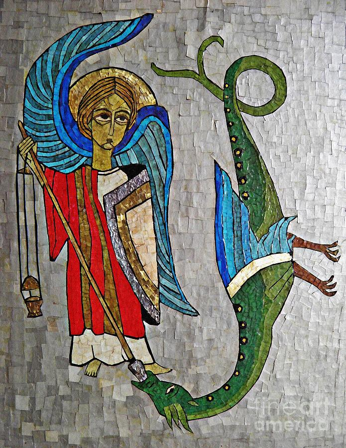 Angel Mixed Media - Archangel Michael And The Dragon    by Sarah Loft