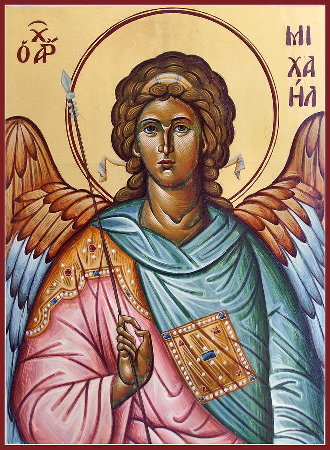 Icon Painting - Archangel Michael by Julia Bridget Hayes