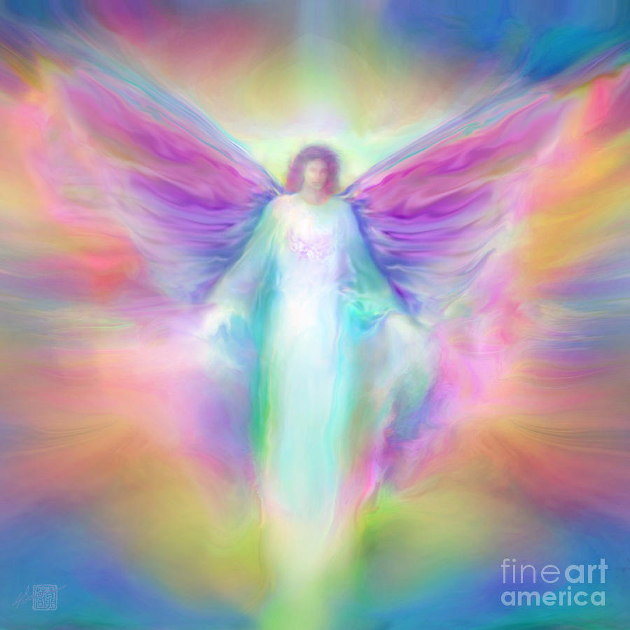Archangel Paintings Painting - Archangel Raphael Healing by Glenyss Bourne