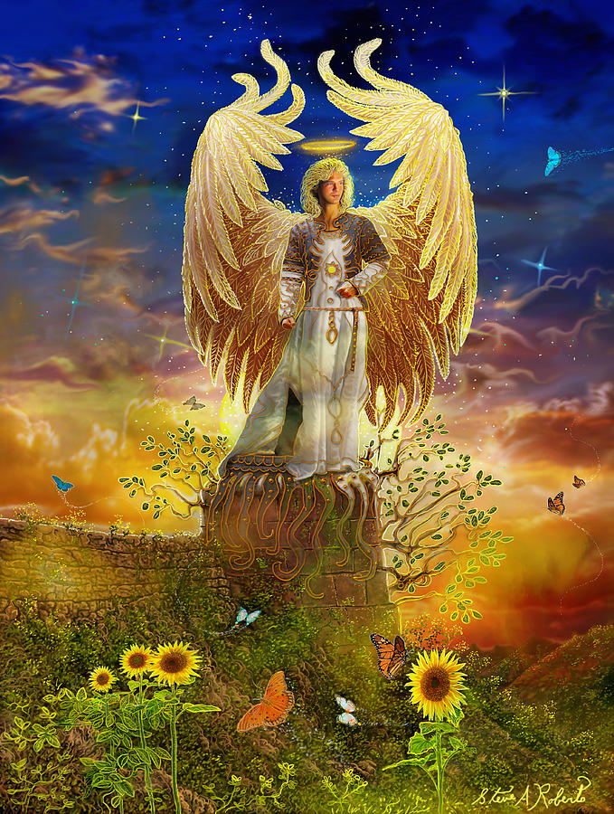Angel Painting - Archangel Uriel by Steve Roberts