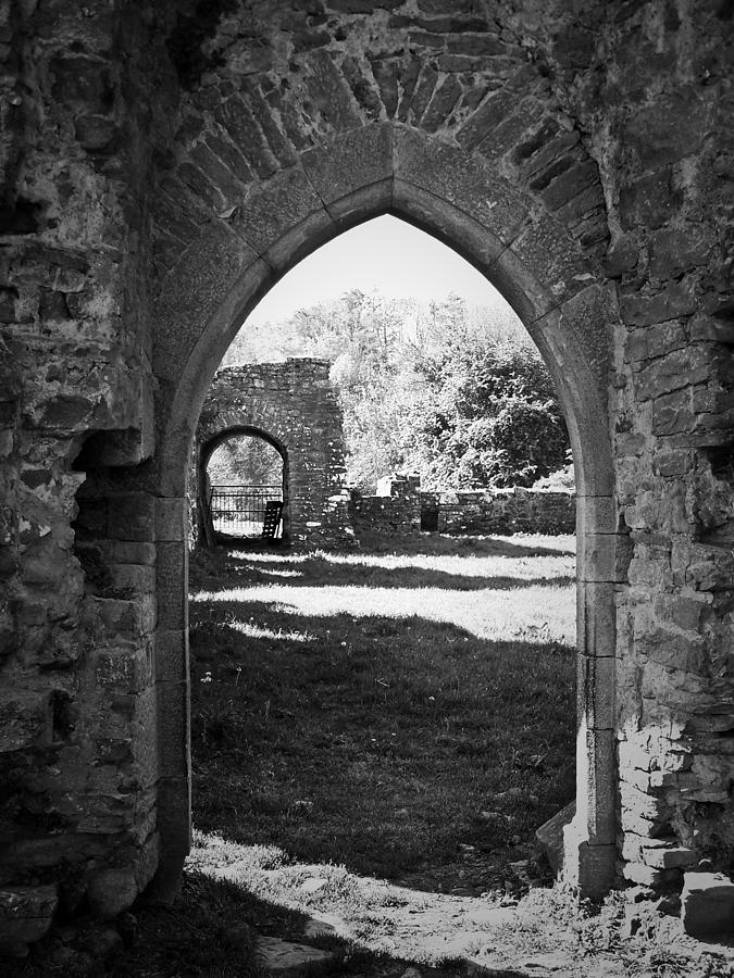 Irish Photograph - Arched Door At Ballybeg Priory In Buttevant Ireland by Teresa Mucha