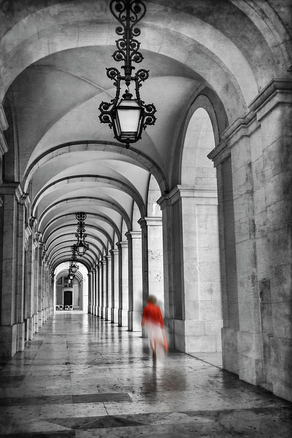 Arched Walkway Terreiro Do Paco Lisbon Portugal In Black And White Photograph