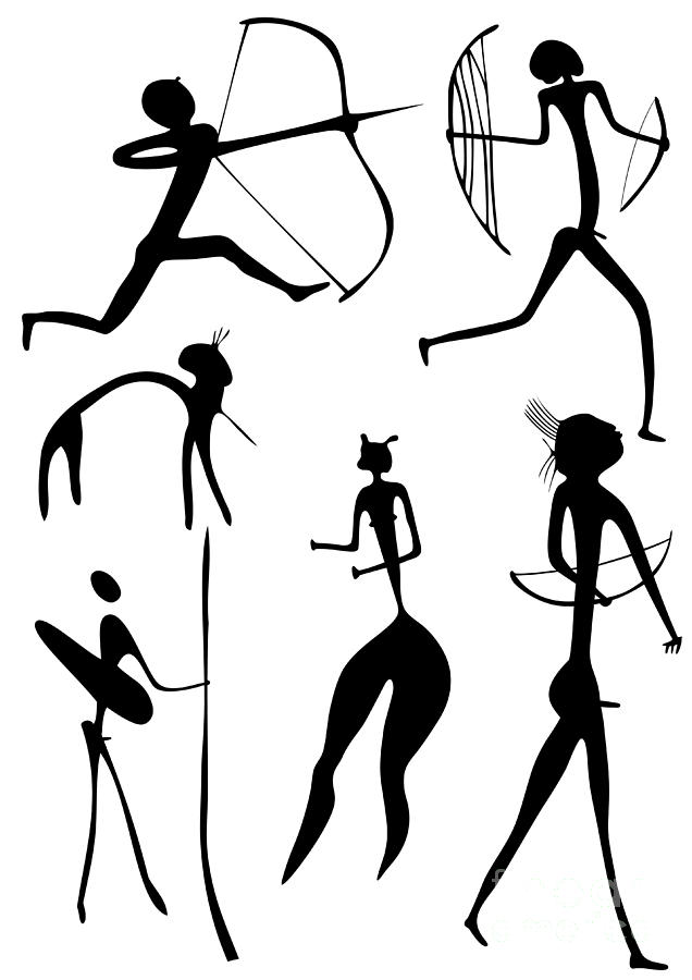 Vector Drawing - Archer And Other Figures by Michal Boubin