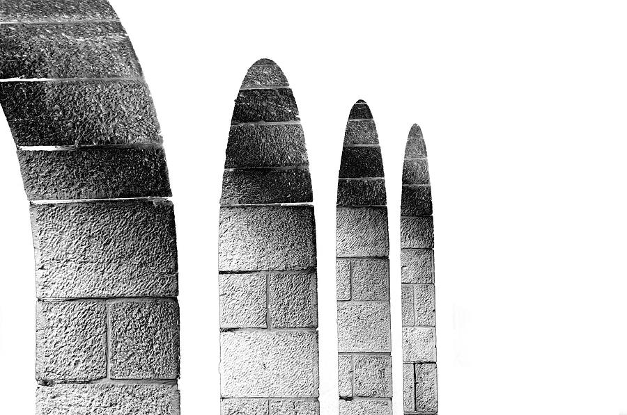Cohen Photograph - Arches Per Israel - White And Black by Deb Cohen