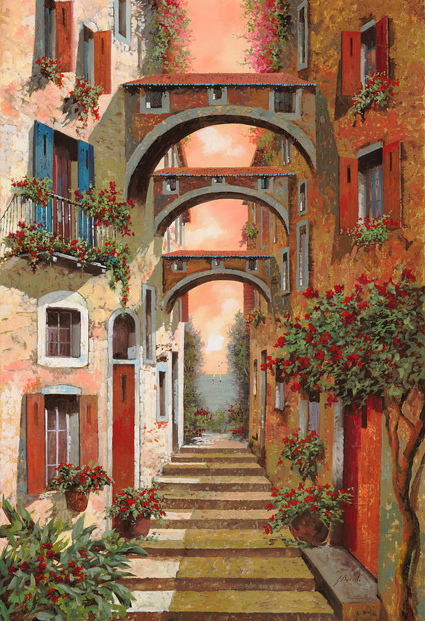 Arches Painting - Archetti In Rosso by Guido Borelli