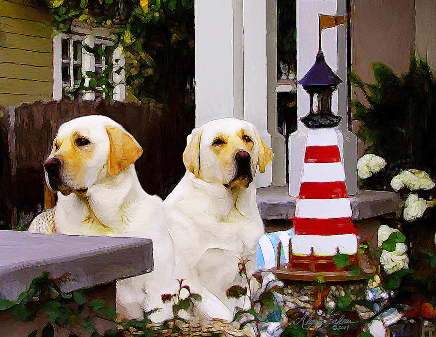 Dogs Painting - Archie And Jackie by Alice Schear