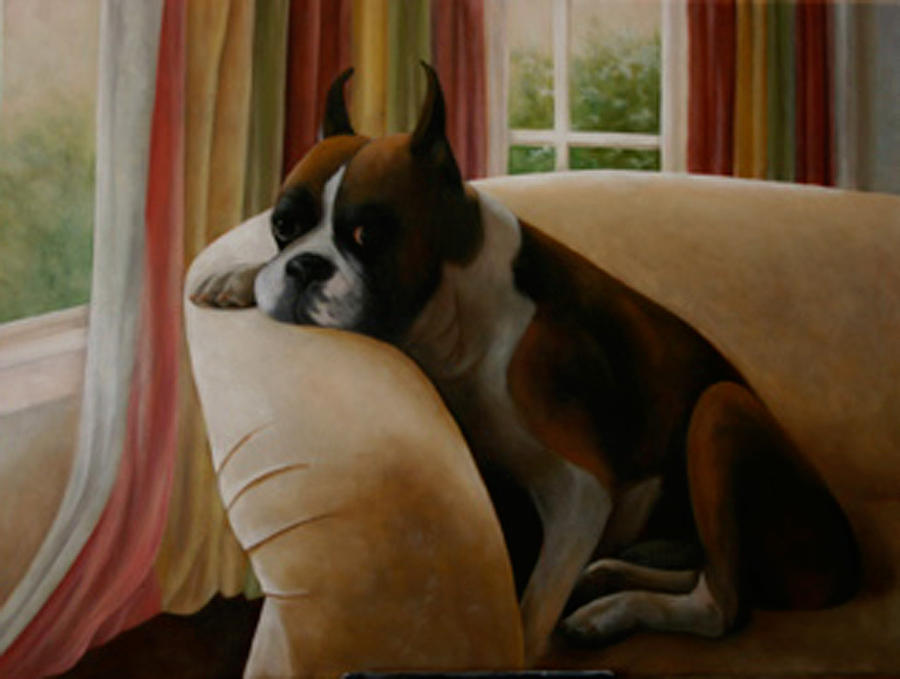 Boxers Painting - Archie by Nancy Goldman