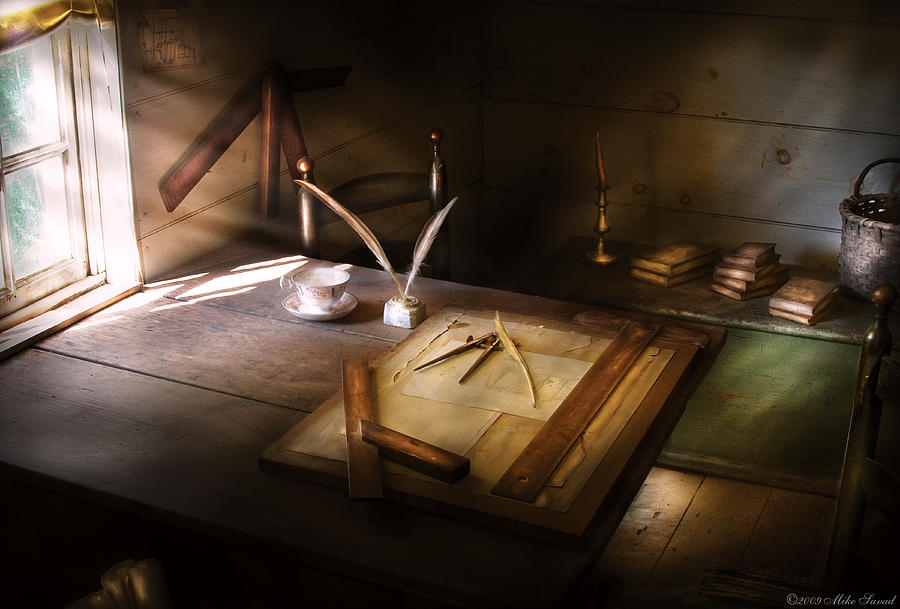 Savad Photograph - Architect - The Drafting Table  by Mike Savad