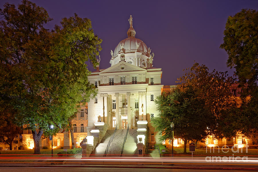 Downtown Photograph - Architectural Photograph Of Mclennan County Courthouse At Dawn - Downtown Waco Central Texas by Silvio Ligutti