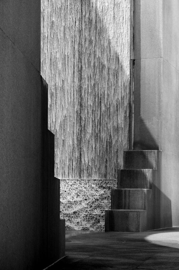Architectural Waterfall in Black and White by Angela Rath