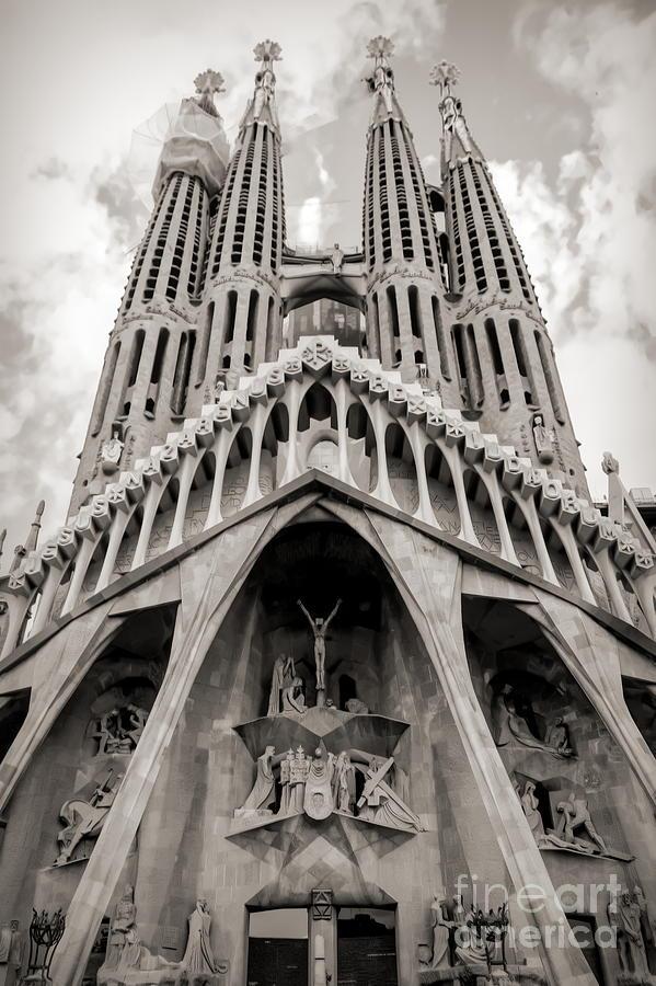 9e45f919f9 Architecture Antoni Gaudi La Sagrada Familia Barcelona Spain Sepia ...