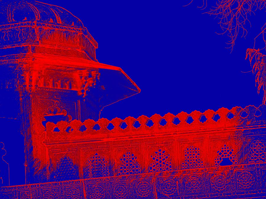 Architecture Detail Blue and Red City Palace Udaipur Rajasthan India 1a by Sue Jacobi