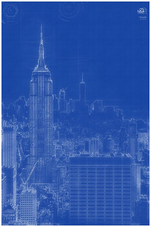 Archtectural blueprint drawing manhattan new york usa painting by construction painting archtectural blueprint drawing manhattan new york usa by celestial images malvernweather Gallery
