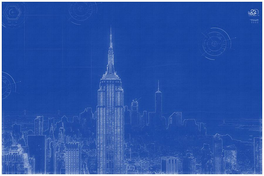 Archtectural blueprint drawing new york usa painting by nature painting archtectural blueprint drawing new york usa by archtectural blueprint malvernweather Gallery