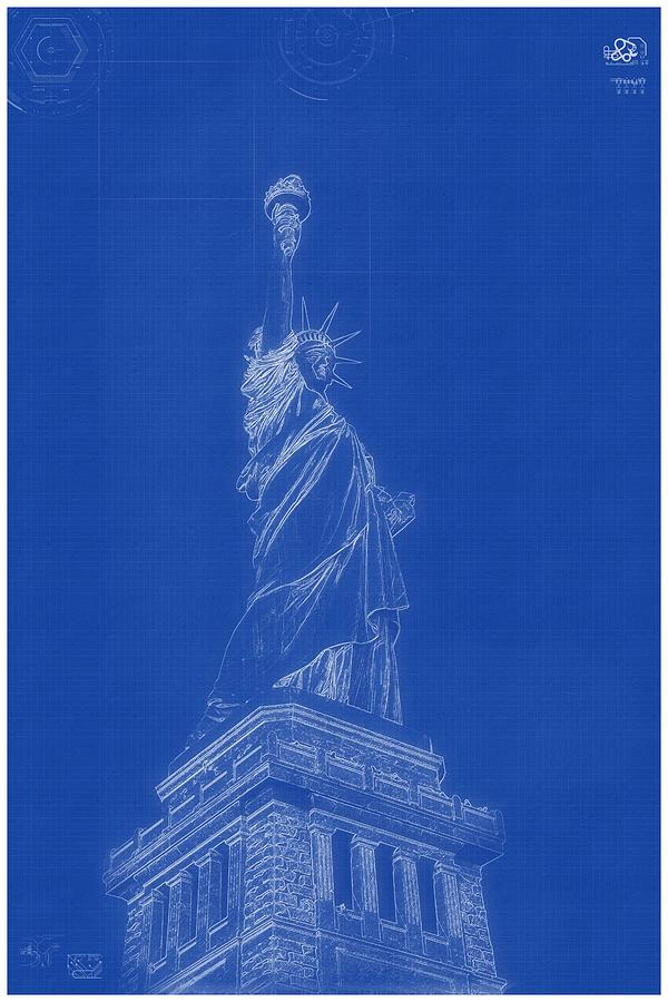 Archtecture Blueprint   Statue Of Liberty Painting