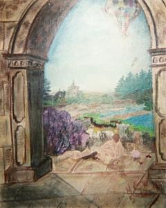 Architecture Painting - Archway To Dreamland Original  Beautifully Framed by Christine Ward