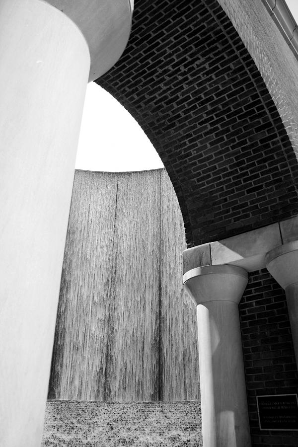 Arcs and Tangents Houston Water Wall in Black and White by Angela Rath