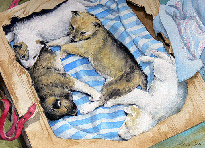Huskies Painting - Arctic Circle by RoseMarie Condon