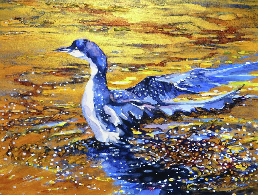 Arctic Painting - Arctic Loon On Golden Pond by Beverly Berwick