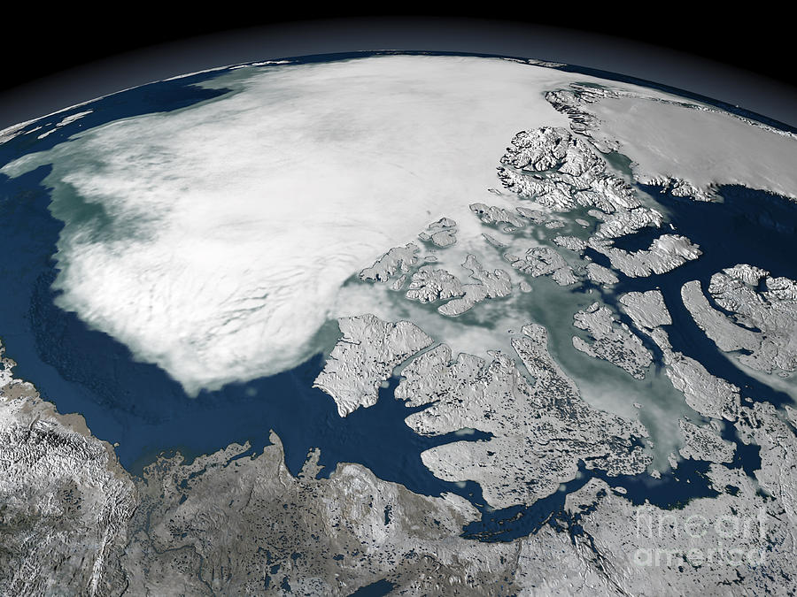 Archipelago Photograph - Arctic Sea Ice Above North America by Stocktrek Images