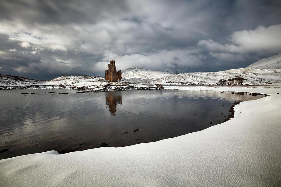 Ardvreck Castle Photograph - Ardvreck Castle in Winter by Grant Glendinning